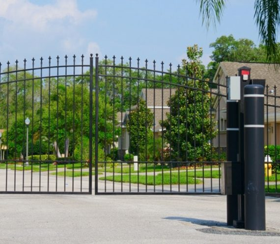Cast iron gate with electronic access.