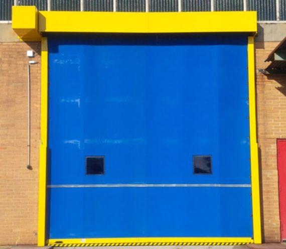 High speed fabric bay door.